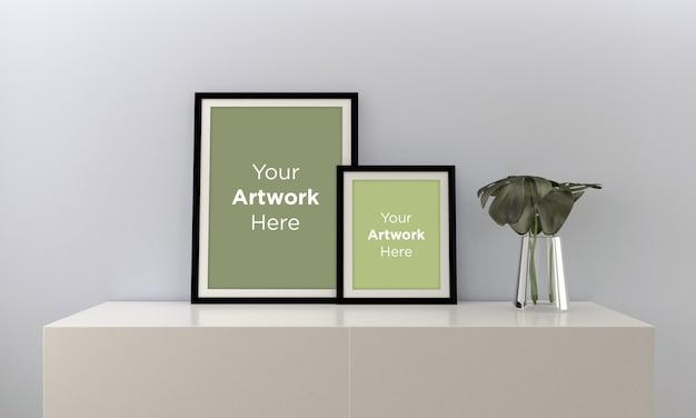 Maquete de quadro no armário no interior