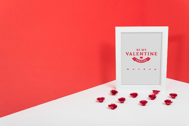Maquete de quadro no canto para dia dos namorados