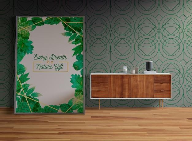 Maquete de quadro no chão da sala
