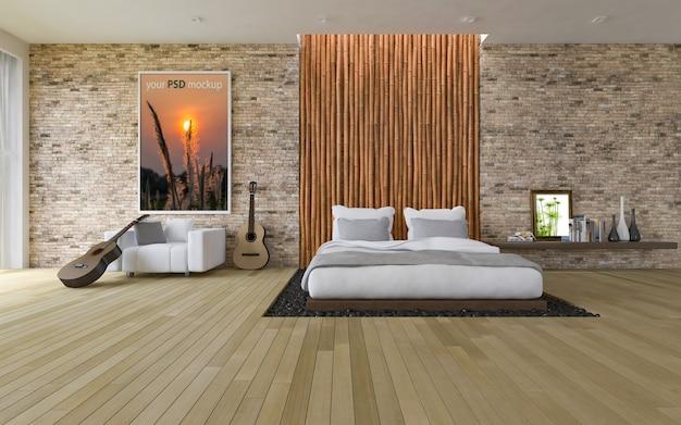 Maquete de quadro no quarto moderno