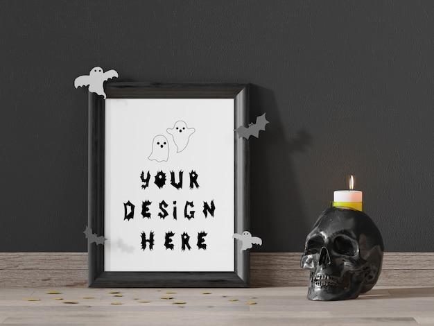 Maquete de quadro para evento de halloween com caveira e vela