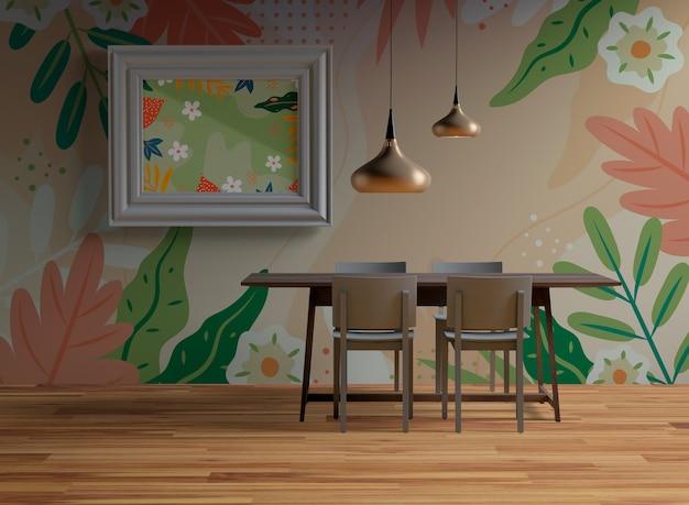 Maquete de quadro pendurado na parede na sala de jantar