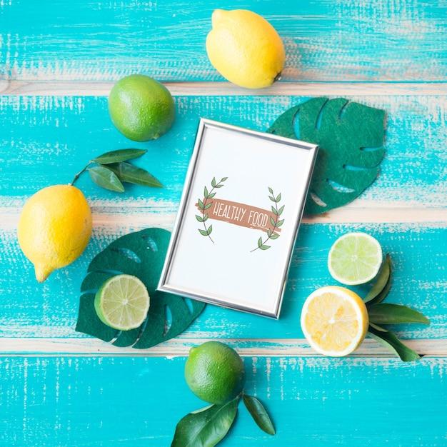 Maquete de quadro plana leigos com conceito de comida saudável