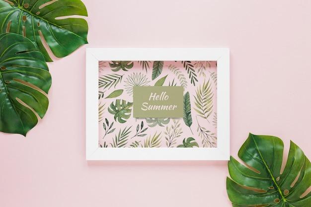 Maquete de quadro plana leigos com elementos de verão