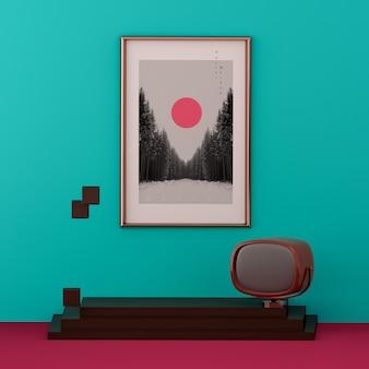 Maquete de quadro retrô 3d