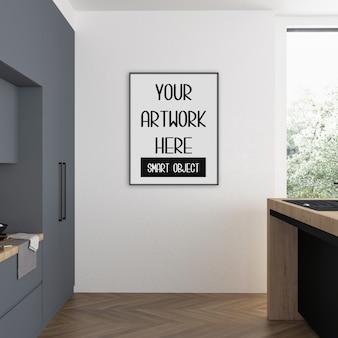 Maquete de quadro, sala de cozinha com quadro vertical preto, interior escandinavo