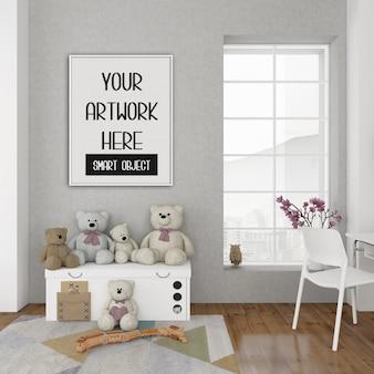 Maquete de quadro, sala de crianças com quadro vertical branco, interior escandinavo