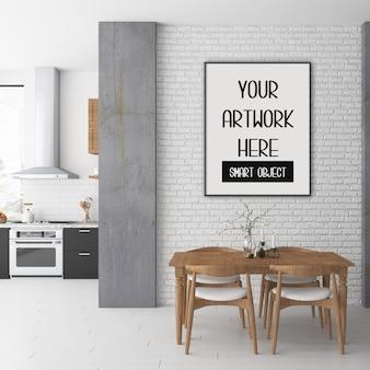 Maquete de quadro, sala de jantar com quadro vertical preto, interior escandinavo