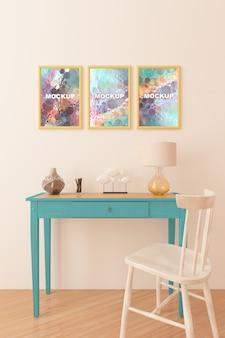 Maquete de quadros acima pequena mesa