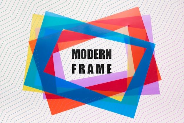 Maquete de quadros modernos em camadas de cor