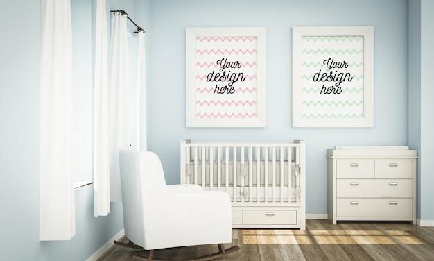 Maquete de quadros no quarto do bebê azul em renderização 3d