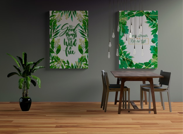 Maquete de quadros pendurado na parede na sala de jantar