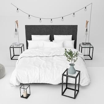 Maquete de quarto moderno com elementos decorativos