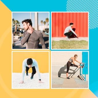 Maquete de quatro imagens com pessoas fazendo esportes