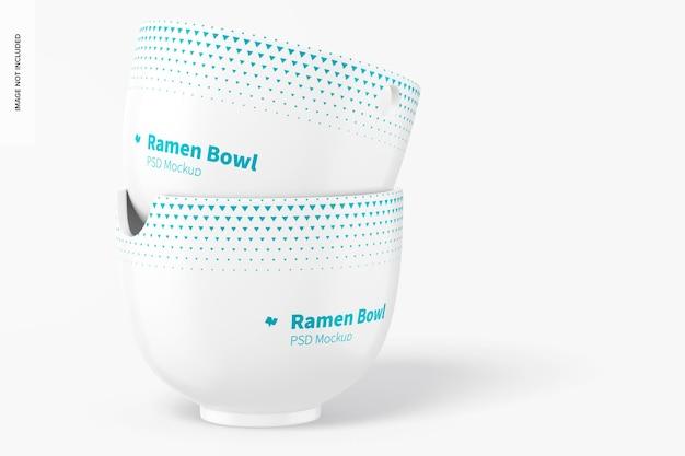 Maquete de ramen bowls, empilhado Psd grátis