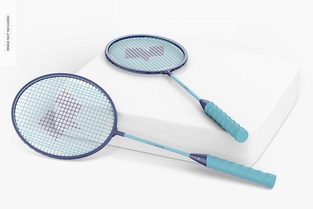 Maquete de raquetes de badminton
