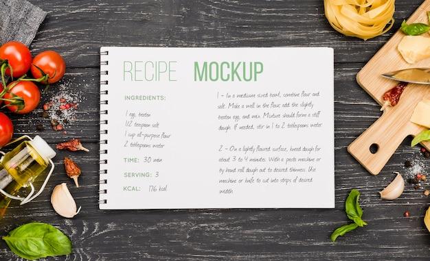 Maquete de receitas e arranjo de alimentos