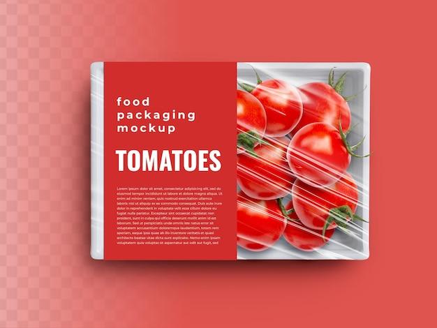 Maquete de recipiente de bandeja de caixa de comida com tomates e vegetais em embalagem de plástico com tampa de papel