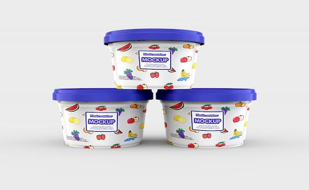 Maquete de recipiente de comida de plástico