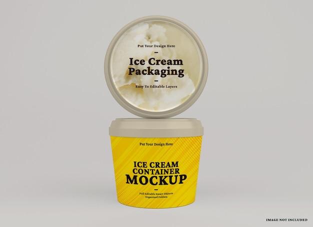 Maquete de recipiente de sorvete arredondado