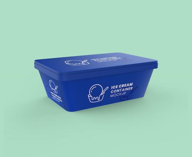Maquete de recipiente de sorvete retangular