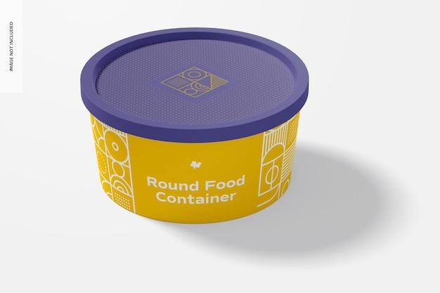 Maquete de recipiente redondo de plástico para entrega de alimentos, vista frontal