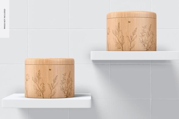 Maquete de recipientes de especiarias de bambu, vista frontal