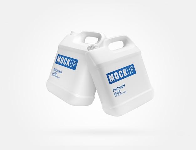 Maquete de recipientes de galão branco