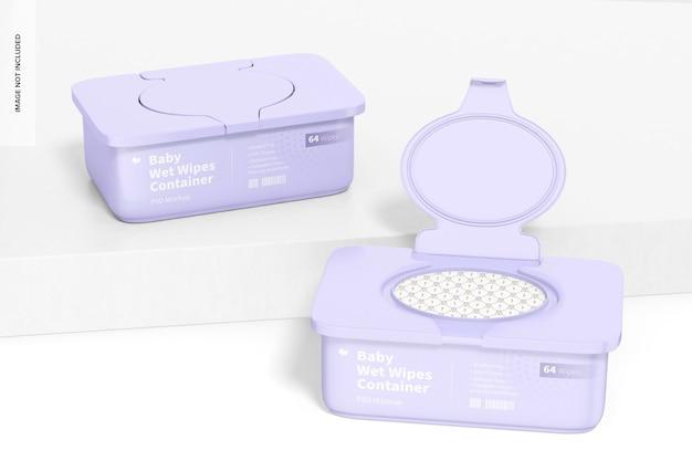 Maquete de recipientes de lenços umedecidos para bebês, perspectiva