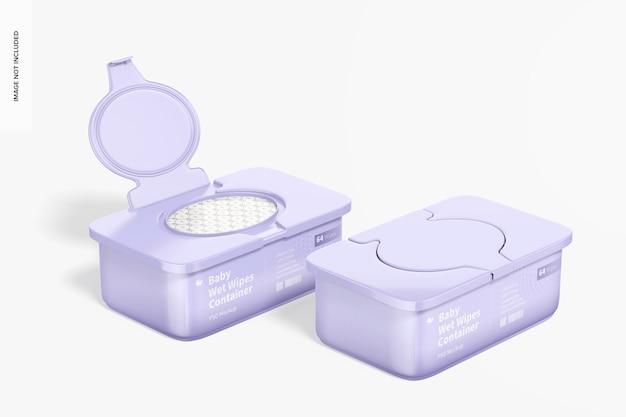Maquete de recipientes de lenços umedecidos para bebês