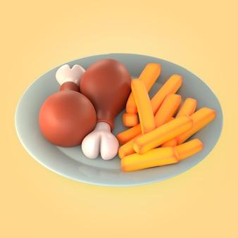 Maquete de refeição com frango e batata frita