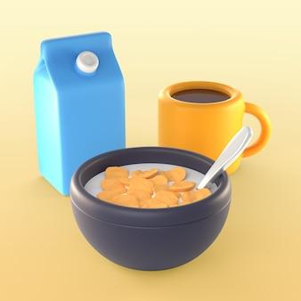 Maquete de refeição matinal com cereais e leite
