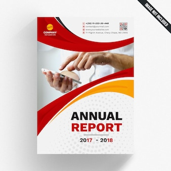 Maquete de relatório anual com formas onduladas