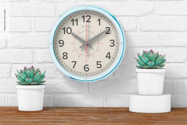 Maquete de relógio de parede retrô, vista frontal