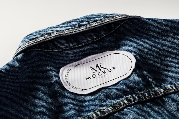 Maquete de remendo de roupa em tecido em jeans