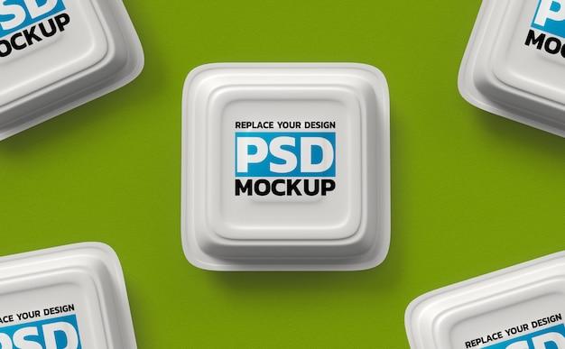Maquete de renderização 3d de caixas de comida