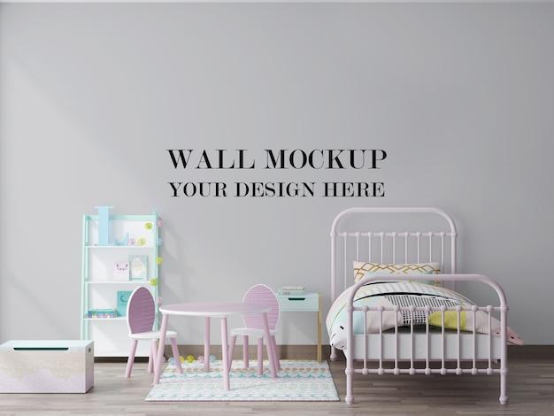 Maquete de renderização 3d de fundo de parede vazia de quarto de criança aconchegante