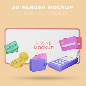 Maquete de renderização 3d de smartphone com conceito de finanças