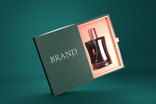 Maquete de renderização 3d para embalagens de perfume