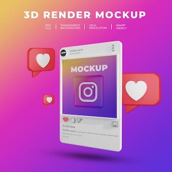 Maquete de renderização 3d pós-renderização do instagram