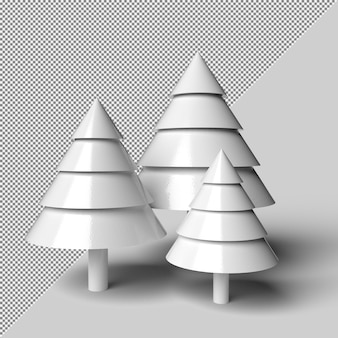 Maquete de renderização de árvore de natal de neve isolada