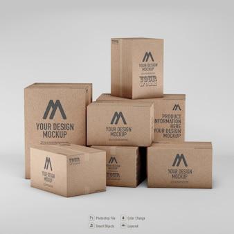 Maquete de renderização de caixas de papelão isoladas Psd Premium