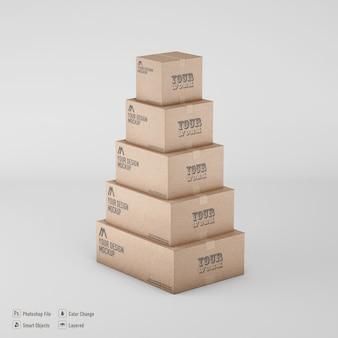Maquete de renderização de caixas de papelão isoladas