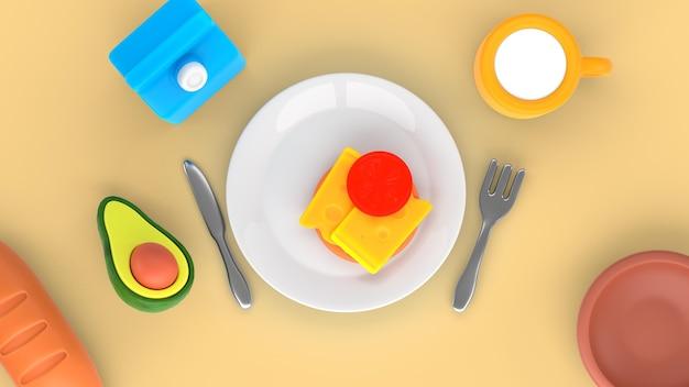 Maquete de renderização de comida saborosa plana lay