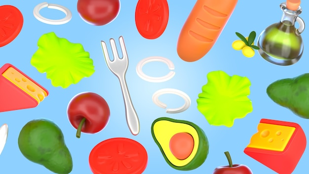 Maquete de renderização de comida saborosa