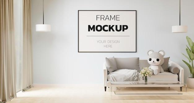 Maquete de renderização de quadro 3d no interior da casa