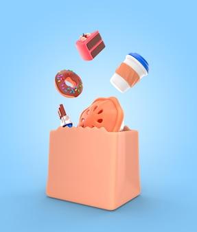 Maquete de renderização de sobremesa deliciosa