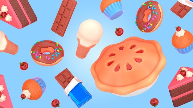 Maquete de renderização de sobremesa saborosa