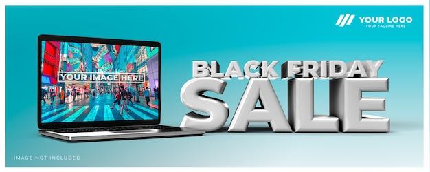 Maquete de renderização do design em 3d da venda da black friday