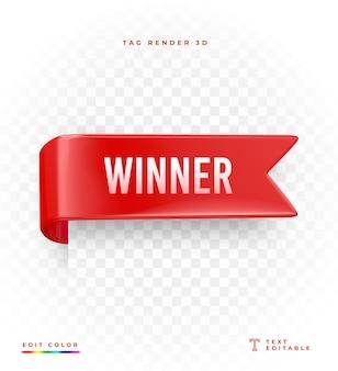 Maquete de renderização do vencedor da tag 3d isolada